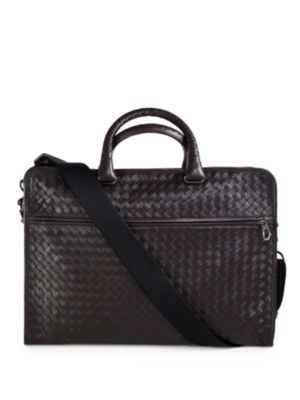 BOTTEGA VENETA Leggeron Intrecciato Leather Briefcase, Dark Brown