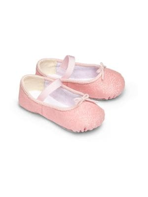 Image of A pint-sized pair of ballerina flats for baby in a glittery upper with adjustable vamp tie and elasticized strap for a perfect fit. Elasticized strap. Vamp bow. Glitter fabric upper. Cotton lining. Leather sole. Imported.