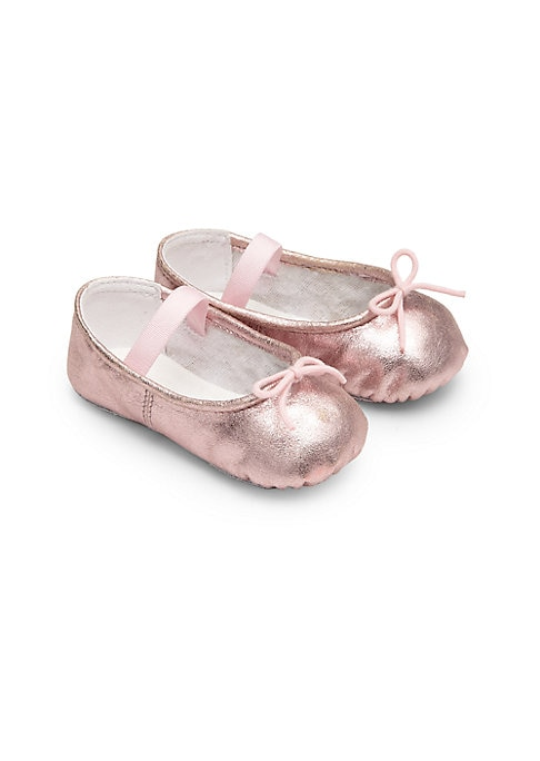Image of A miniaturized version of the classic ballet flat, this dazzling design gets a dancer-inspired update in metallic leather with drawstring bow at the vamp. Slip-on style with elastic strap. Leather upper. Textile lining. Leather sole. Imported.