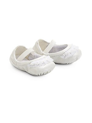 Image of A miniaturized version of the classic ballet flat, this adorable design gets a dancer-inspired update in rich leather with frilly ruffles. Slip-on style with elastic strap Leather upper Textile lining Leather sole Imported. Children's Wear - Children's Sh