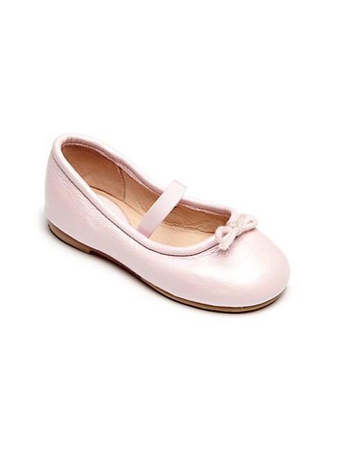 Image of Classic slip-on style with bow detail. Elasticized strap. Leather upper. Leather lining. Leather and rubber sole. Padded insole. Imported.