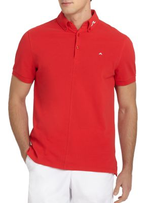 J. LINDEBERG GOLF Active Rubi Organic Cotton Polo Shirt in Red