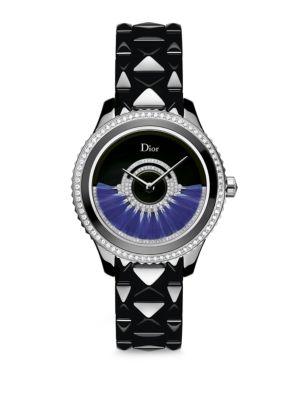 Dior Viii Grand Bal Limited-Edition Diamond, Stainless Steel, Black Ceramic & Alligator Automatic Wa in Black-Blue