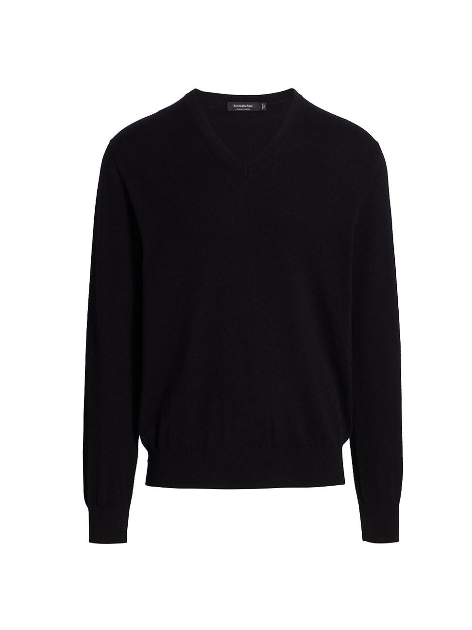 Ermenegildo Zegna Cashmere-silk Blend V-neck Sweater In Black