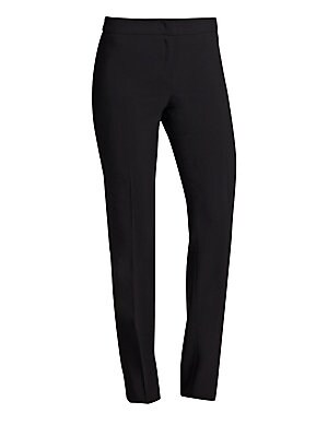 "Image of Armani Collezioni pants made from featherweight wool featuring a sleek, pocket-less design. Hook-and-eye closure Zip fly Back waist darts Straight-leg fit Inseam, about 34"" Wool Dry clean Imported. Designer Lifest - Emporio Armani. Armani Collezioni. Colo"