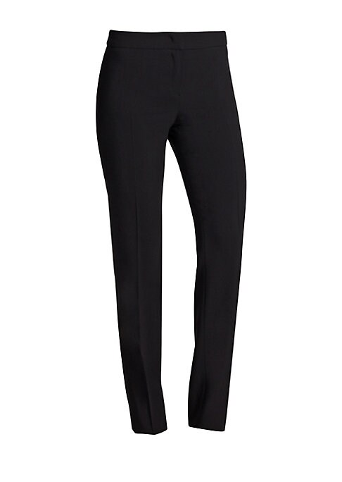 "Image of Armani Collezioni pants made from featherweight wool featuring a sleek, pocket-less design. Hook-and-eye closure. Zip fly. Back waist darts. Straight-leg fit. Inseam, about 34"".Wool. Dry clean. Imported."