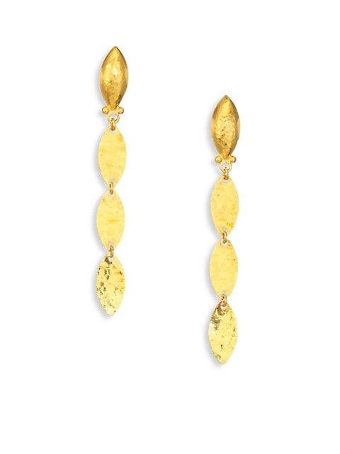 Willow 24K Yellow Gold & Sterling Silver Leaf Flake Linear Drop Earrings