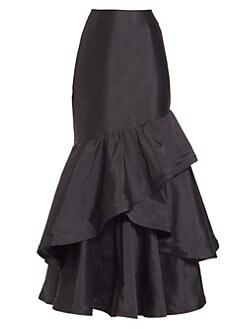 04b20de2 Teri Jon by Rickie Freeman - Long Ruffle Taffeta Skirt