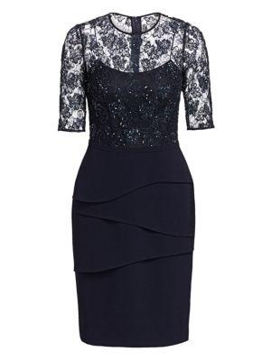 Lace Bodice Sheath Dress plus size,  plus size fashion plus size appare