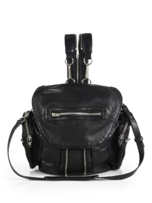 Mini Marti Black Washed Leather Backpack W/Silvertone Metal, Black Slvr Hrdr