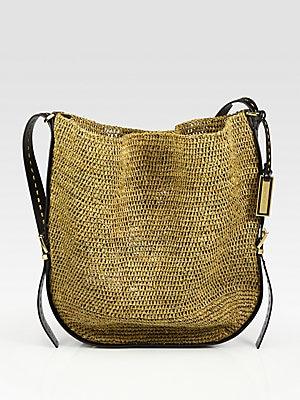 418951460aecca Michael Kors Collection - Santorini Raffia & Leather Crossbody Bag -  saks.com