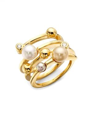 Endless Pearl Ring, 18K Gold Over Sterling Silver Multicolor Organic Man Made Pearl Ring in Multi Gold