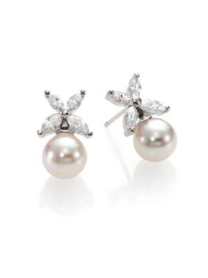 8 Mm White Pearl Floral Drop Earrings by Majorica