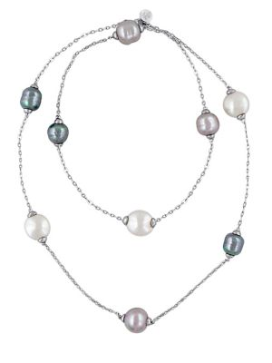 "Image of .Baroque pearls shimmer with brilliant iridescence, scattered along delicate strand. .12mm, 14mm and 15mm grey, nuage and white round organic man-made pearls. .Sterling silver. .Length, about 36"". .Lobster clasp. .Made in Spain. ."
