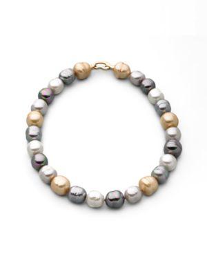 MAJORICA 14Mm Multicolor Baroque Pearl Necklace in Grey/ Silver