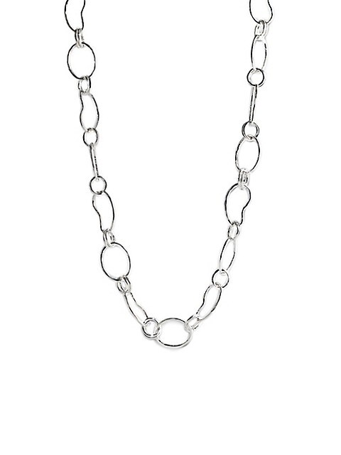 Classico Long Sterling Silver Hammered Prosper Chain Necklace