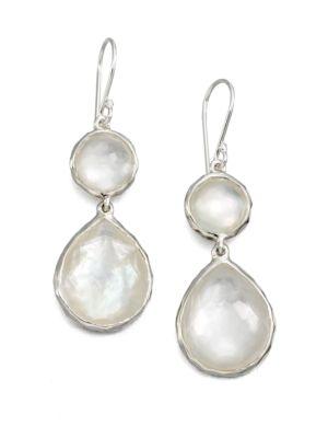 Ippolita Wonderland Mother Of Pearl Clear Quartz Amp Sterling Silver Mini Snowman Doublet Teardrop Earrings