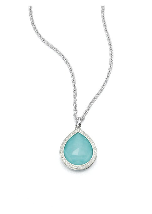 "Image of Sleek sterling silver accented with dazzling diamonds is the perfect setting for this faceted, turquoise doublet on a link chain. .Turquoise. Sterling silver. Diamonds, 0.19 tcw. Length, about 16"" to 18"" adjustable. Pendant size, about 1"".Lobster clasp. I"