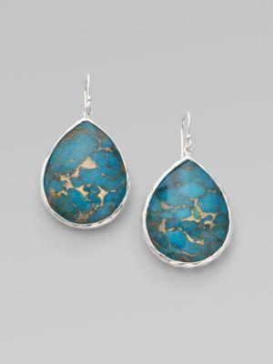Ippolita Women's Wonderland Bronze Turquoise, Clear Quartz & Sterling Silver Large Doublet Teardrop Earrings