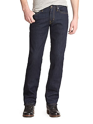 "Image of An instant favorite that never goes out of style, cut from premium denim with a straight leg and clean indigo wash. Five-pocket style Signature stitching on back pockets Inseam, about 34"" Rise, about 9.75"" Leg opening, about 17.5"" Cotton/polyester Machine"