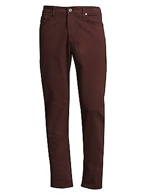 """Image of A tailored, straight-leg fit constructed of sueded brushed cotton. Five-pocket style Zip fly Cotton/elastane Machine wash Made in USA of Italian fabric SIZE & FIT Tailored straight fit Rise, about 10"""" Inseam, about 34"""" Leg opening, about 15.5'. Men Adv Co"""