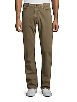 """Image of A tailored, straight-leg fit constructed of sueded brushed cotton. Five-pocket style Zip fly Cotton/elastane Machine wash Made in USA of Italian fabric SIZE & FIT Slim straight fit Rise, about 9.75"""" Inseam, about 34"""" Leg circumference, about 15.5"""". Men Ad"""