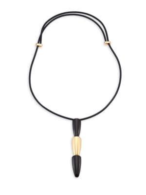 VHERNIER Calla 18K Pink Gold & Ebony Tiered Pendant Necklace in Black