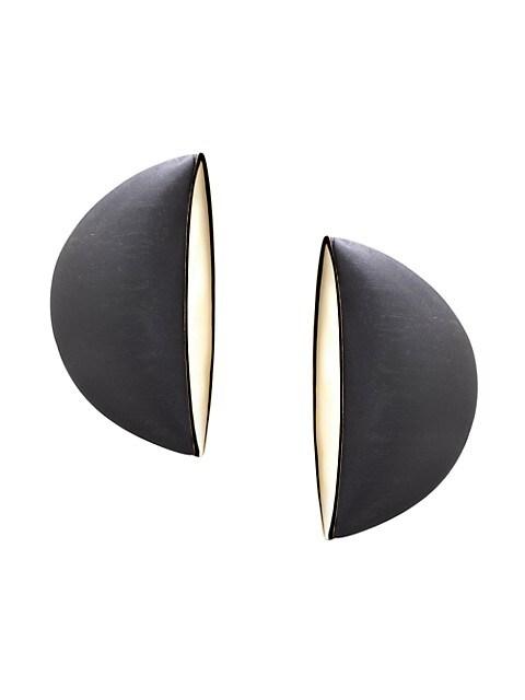 Eclisse 18K Rose Gold & Jet Clip-On Earrings