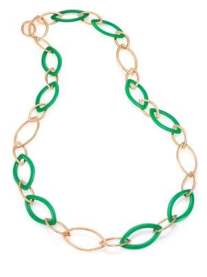 VHERNIER Pop Chrysoprase & 18K Rose Gold Marquis Chain Necklace in Rose Gold-Green