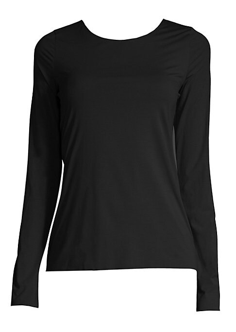 Image of This long-sleeve pullover, rendered in luxe stretch modal, is ideal for layering or wearing alone. Scoopneck. Long sleeves. Pullover style. Modal/elastane. Machine wash. Made in Croatia.