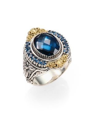 Konstantino London Blue Topaz, 18K Yellow Gold & Sterling Silver Ring