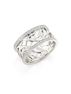 Image of From the Aria Collection Diamonds frame wide band with artful open-work design Diamonds,0.44 tcw 18k white gold Imported. Fine Jewelry - Debeers A. De Beers. Color: White. Size: 53 (6.25).