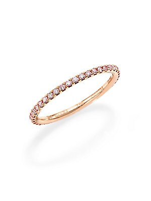 Image of From the De Beers Aura Collection. Diamonds of pale, delicate pink hue shimmer upon a slender band of 18k rose gold. Pink diamonds, 0.38 tcw Color: G+ Clarity: VS+ 18k rose gold Width, about 1.5mm Imported. Fine Jewelry - Debeers A. De Beers. Color: Rose