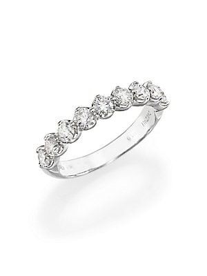 Image of From the Allegria Collection. A decadent, brilliant array of nine diamonds, their rich shimmer accentuated by half-prong settings, upon a sleek band of platinum. Diamonds, 0.85 tcw Color: G+ Clarity: VS+ 18k white gold Width, about 3mm Imported. Fine Jewe