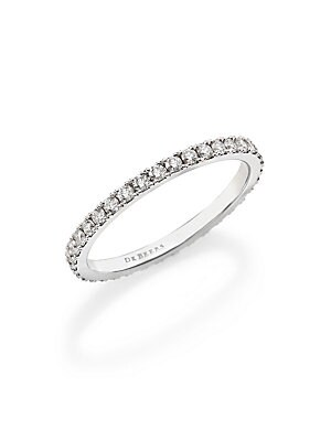 Image of From the De Beers Classic Collection. A classic eternity ring in timeless platinum, delineated by a seemingly endless array of delicate, shimmering diamonds. Diamonds, 0.59 tcw Color: G+ Clarity: VS+ Platinum Width, about 2mm Imported. Fine Jewelry - Debe