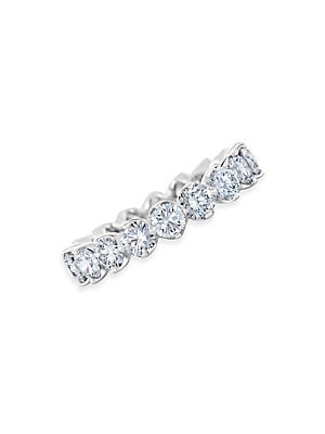 Image of Exceptional eternity band with brilliant round diamonds set in shining white gold. Diamond, 1.80 tcw Diamond color, G+ Diamond clarity, VS+ 18K white gold Imported. Fine Jewelry - Debeers A > Saks Fifth Avenue. De Beers.