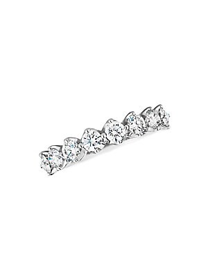 Image of Eternity-style band features half a band of claw-held diamonds set in gleaming white gold. Diamond, 0.90 tcw Diamond color, G+ Diamond clarity, VS+ 18K white gold Imported. Fine Jewelry - Debeers A > Saks Fifth Avenue. De Beers. Color: White Gold.
