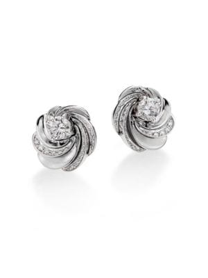 Aria Diamond & 18 K White Gold Signature Stud Earrings by De Beers