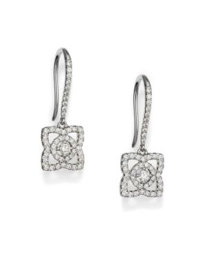 De Beers Enchanted Lotus Diamond 18k White Gold Drop Earrings