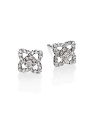 De Beers Enchanted Lotus Diamond 18k White Gold Mini Stud Earrings