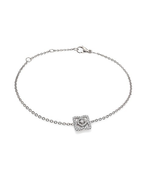 Enchanted Lotus Diamond & 18K White Gold Chain Bracelet