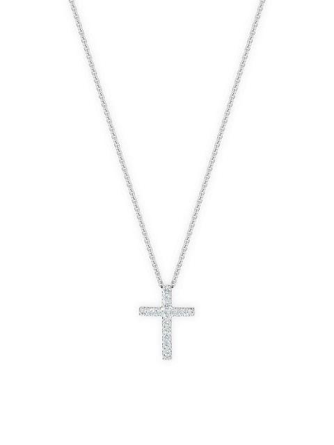 Classic Diamond & 18K White Gold Cross Pendant Necklace
