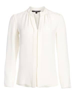 Silk Nehru-Collar Blouse by Derek Lam