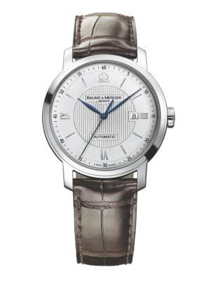 Classima 8731 Stainless Steel & Alligator Strap Watch