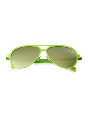 ITALIA INDEPENDENT Metal Aviators in Yellow Lime