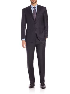 CANALI Striped Wool Two-Button Suit - Navy Size 40 S