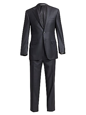 """Image of Tailored Italian wool suit complete with pleat-front pants. Wool. Dry clean. Made in Italy. JACKET Two-button front Notch lapel Chest besom pocket Waist welt pockets Long sleeves Button-cuff detail Dual back vents Lined About 29"""" from shoulder to hem PANT"""