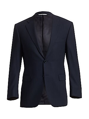 "Image of An essential two-button jacket in fine wool Notched collar and lapels Two-button closure Long sleeves with 4-button cuffs Welt chest pocket Front flap pockets Front darts Double back vents About 28.5"" from shoulder to hem Wool Dry clean Made in Italy. Men"