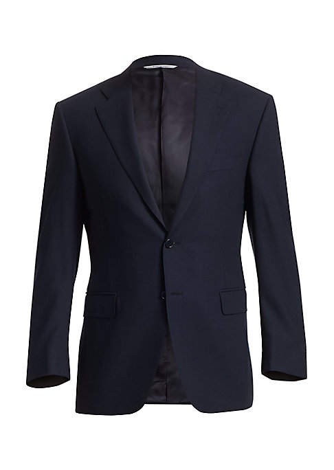 "Image of An essential two-button jacket in fine wool. Notched collar and lapels. Two-button closure. Long sleeves with 4-button cuffs. Welt chest pocket. Front flap pockets. Front darts. Double back vents. About 28.5"" from shoulder to hem. Wool. Dry clean. Made in"