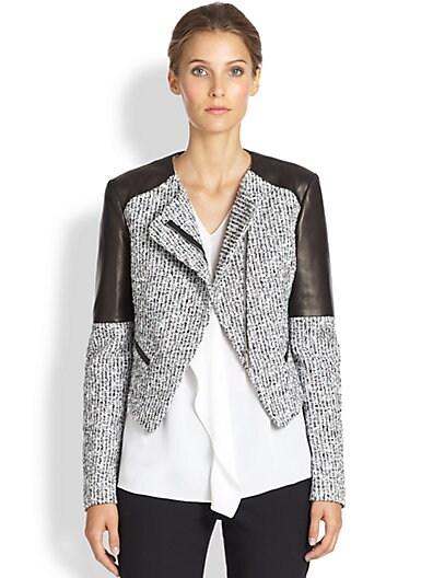 Michael Kors Tweed & Leather Jacket   Optic White Black